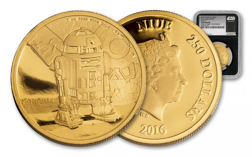 2016 Niue 250 Dollar 1-oz Gold Star Wars Classic R2-D2 NGC Gem Proof First Struck - Black