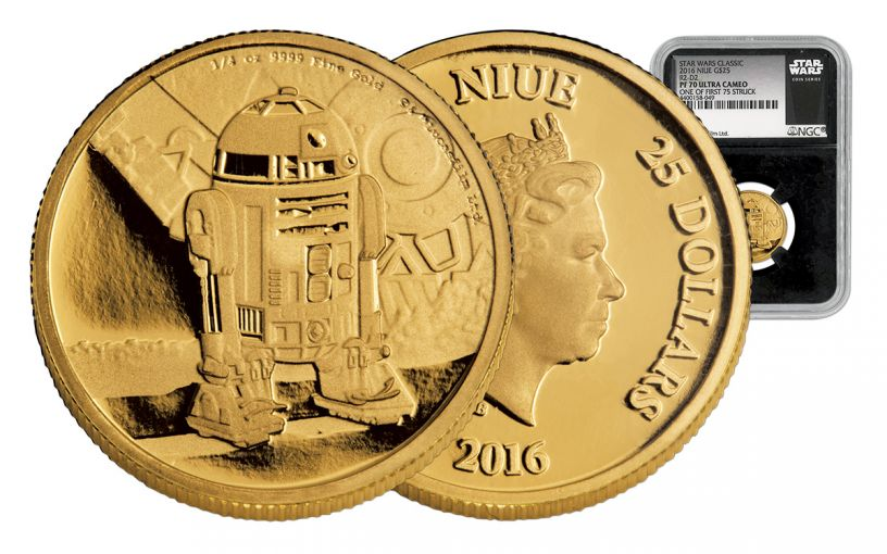 2016 Niue 1/4-oz Gold Star Wars R2D2 First Strike NGC PF70