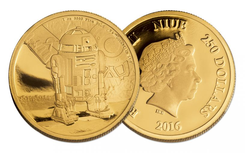 2016 Niue 250 Dollar 1-oz Gold Star Wars Classic R2-D2 Proof