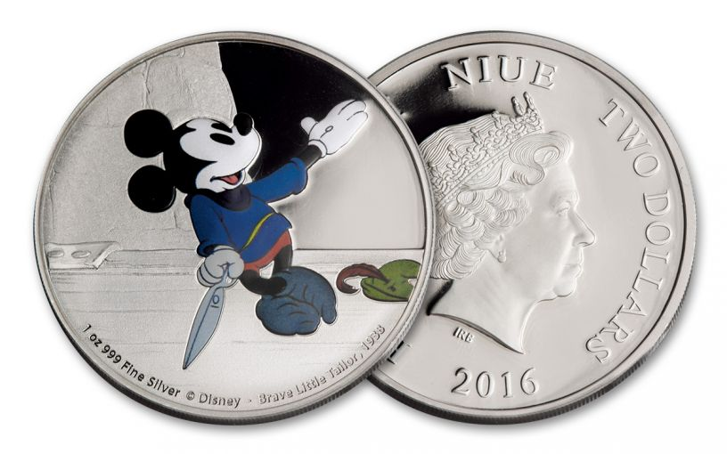 2016 Niue 2 Dollar 1-oz Silver Mickey Brave Little Tailor Proof