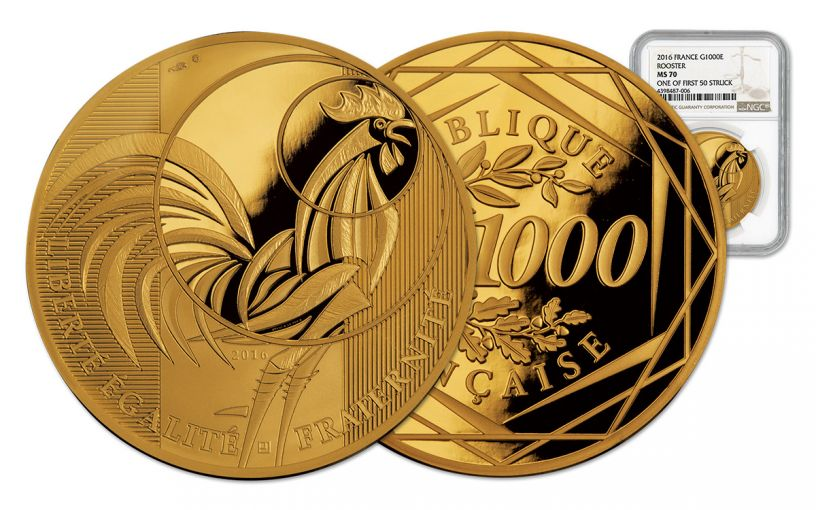 2016 France 1000 Euro Gold Rooster NGC PF70UCAM First Strike