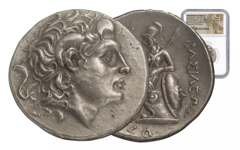 260-250 BC Perinthus Silver Tetradrachm of Lysimachos NGC AU