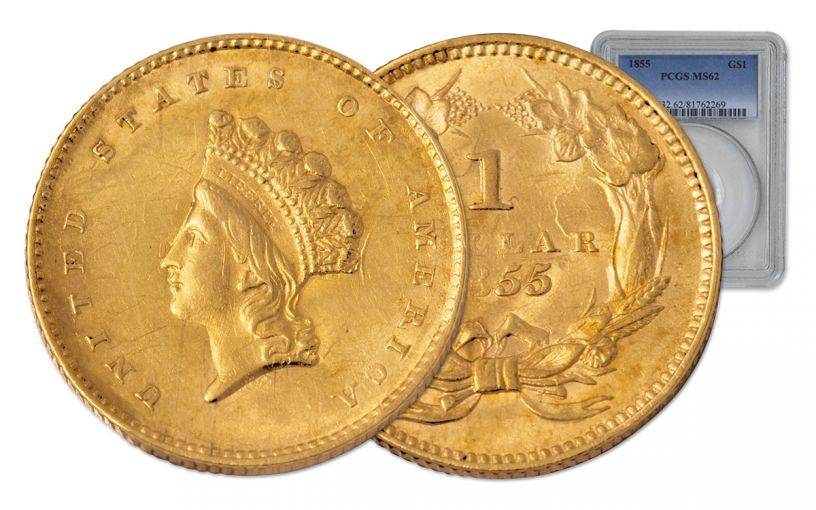 1855 1 Dollar Gold Indian Princess Type II PCGS MS62