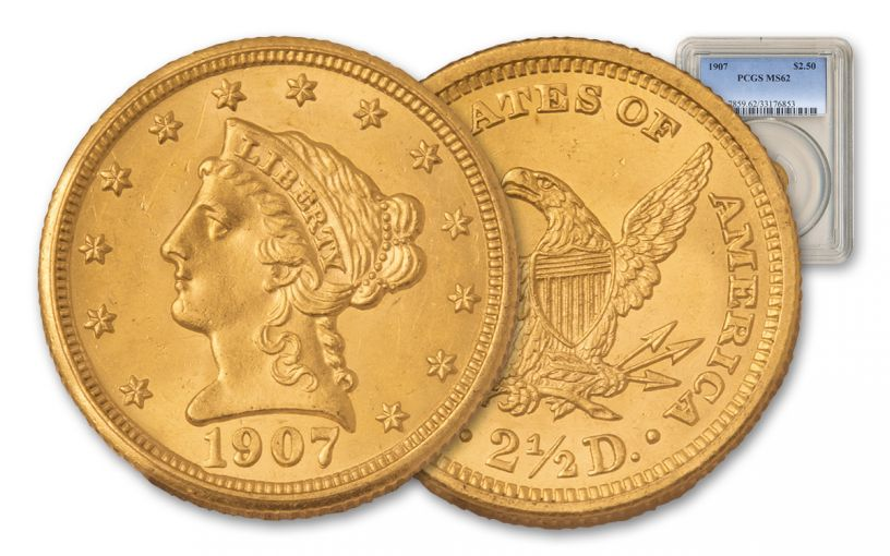 1907 2.5 Dollar Gold Liberty Head PCGS MS62
