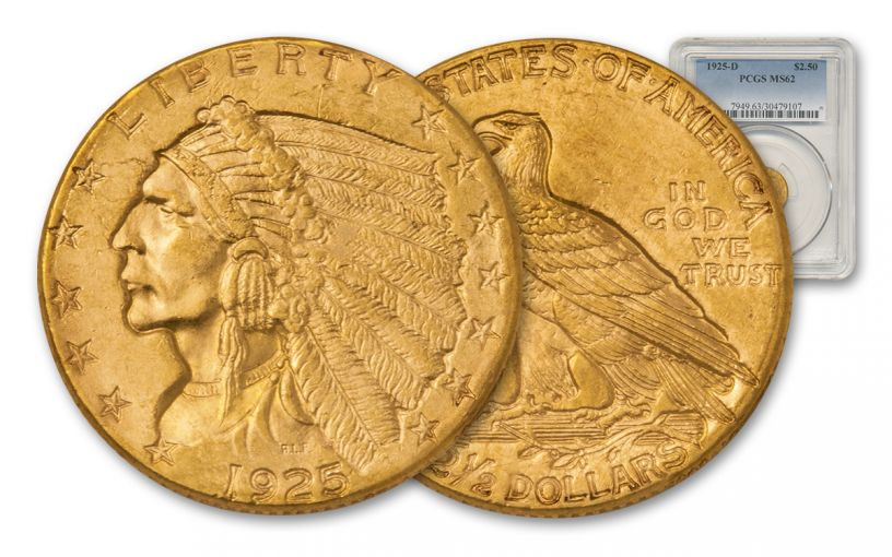 1925-D 2.5 Dollar Gold Indian PCGS MS62