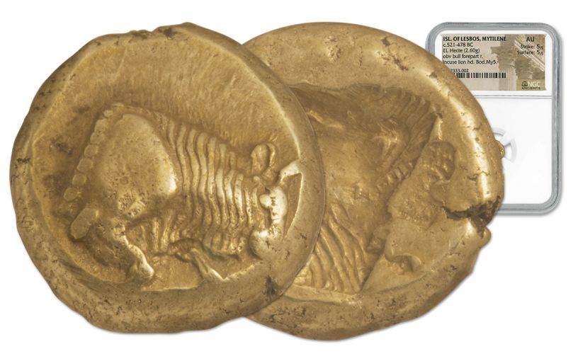 521-478 BC Isle of Lesbos Gold Electrum Hekte NGC AU