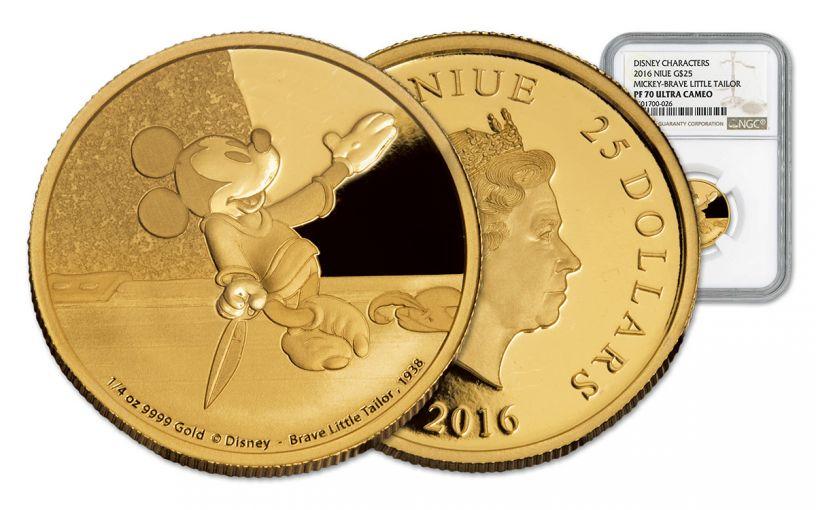 2016 Niue 25 Dollar 1/4-oz Gold Mickey Brave Little Tailor NGC PF70UCAM
