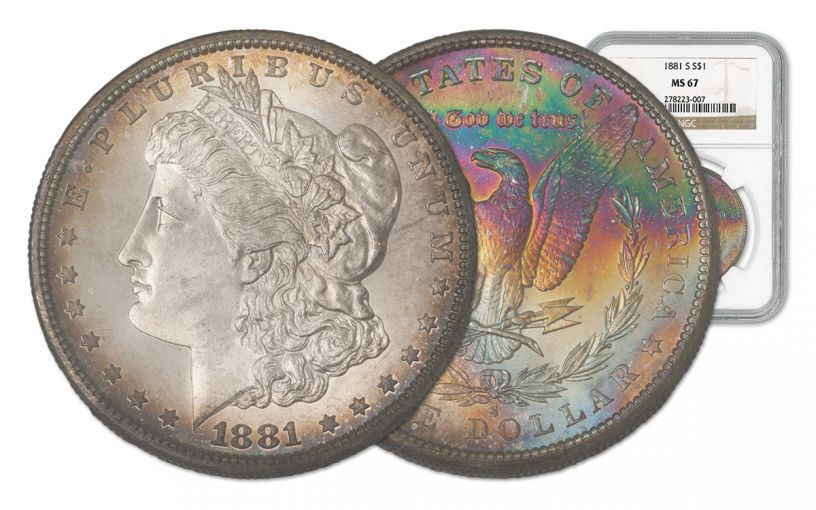 1881-S Morgan Silver Dollar Rainbow Toner NGC MS67