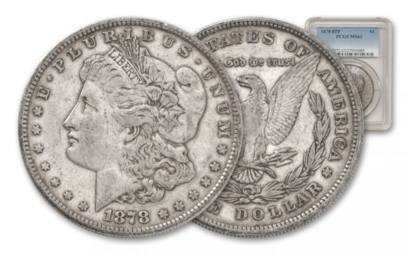 1878 Morgan Silver Dollar 8 Tail Feathers PCGS MS63