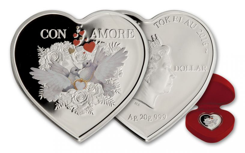 2015 Tokelau 1 Dollar Silver 'Con Amore' Heart-Shaped Proof