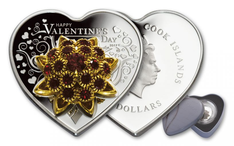 2017 Cook Island 5 Dollar Silver Valentines Day Proof