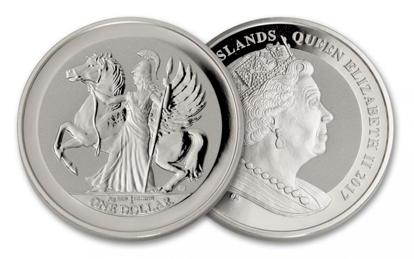 2017 BVI 1 Dollar 1-oz Silver Pegasus Reverse Proof