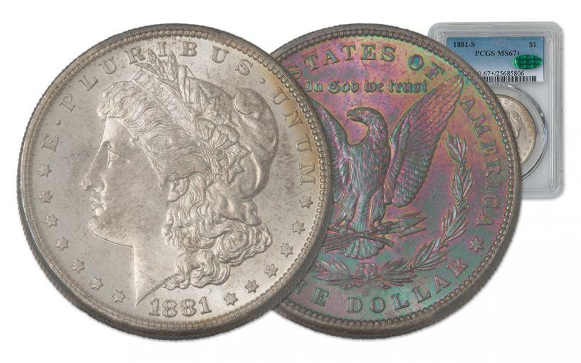 1881-S Morgan Silver Dollar Rainbow Toner PCGS MS67