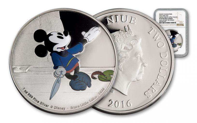 2016 Niue 2 Dollar 1-oz Silver Mickey Brave Little Tailor NGC PF69UCAM