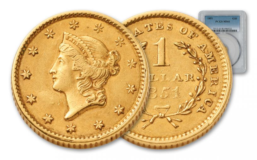 1851 1 Dollar Gold Liberty Type I PCGS MS61