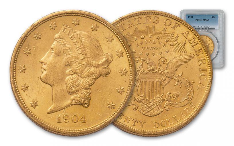 1904 20 Dollar Gold Liberty Type 3 PCGS MS63