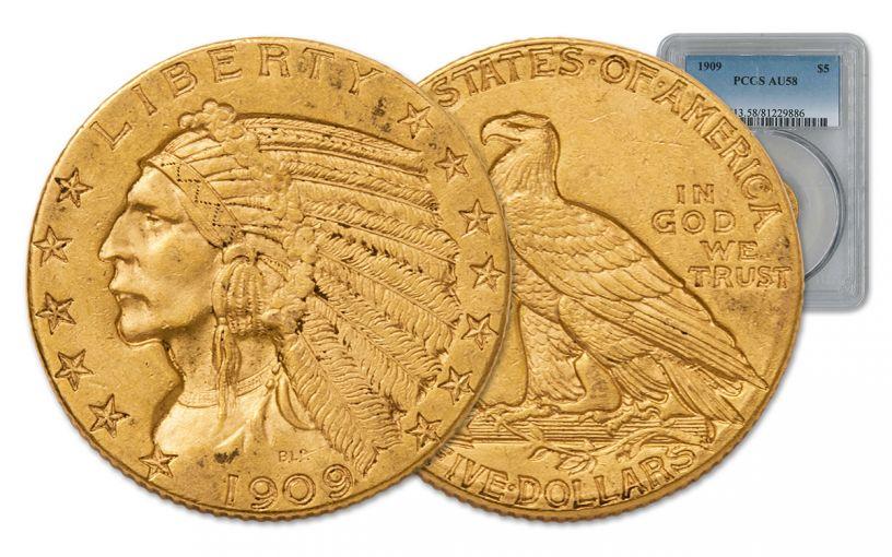 1908-1929 5 Dollar Gold Indian Type III NGC/PCGS AU58