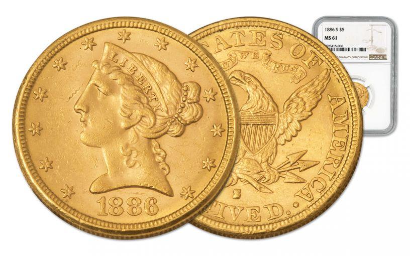 1886-S 5 Dollar Gold Liberty NGC MS61 w/Motto