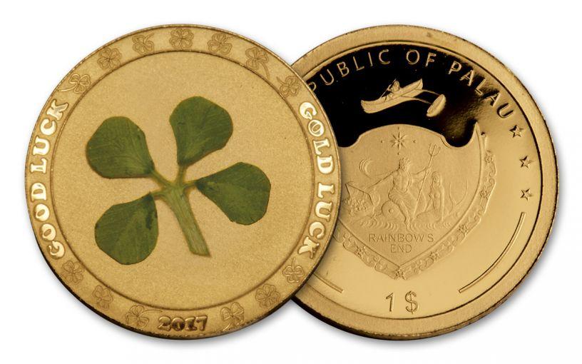 2017 Palau 1 Dollar 1-Gram Gold Four Leaf Clover Proof