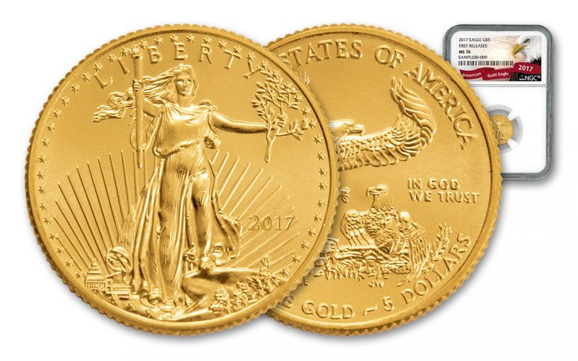 2017 5 Dollar 1/10-oz Gold Eagle NGC MS70 First Releases