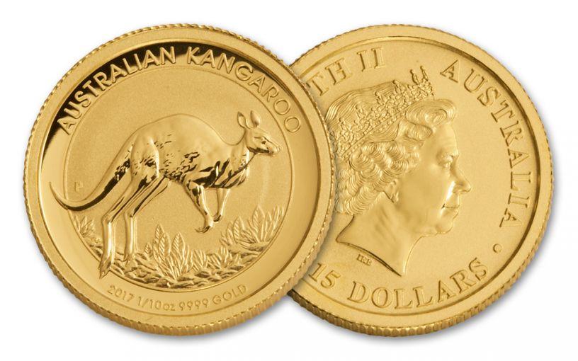 2017 Australia 15 Dollar 1/10-oz Gold Kangaroo BU