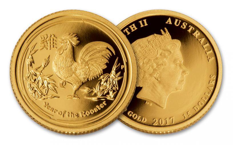 2017 Australia 15 Dollar 1/10-oz Gold Year of the Rooster BU Lunar Series II