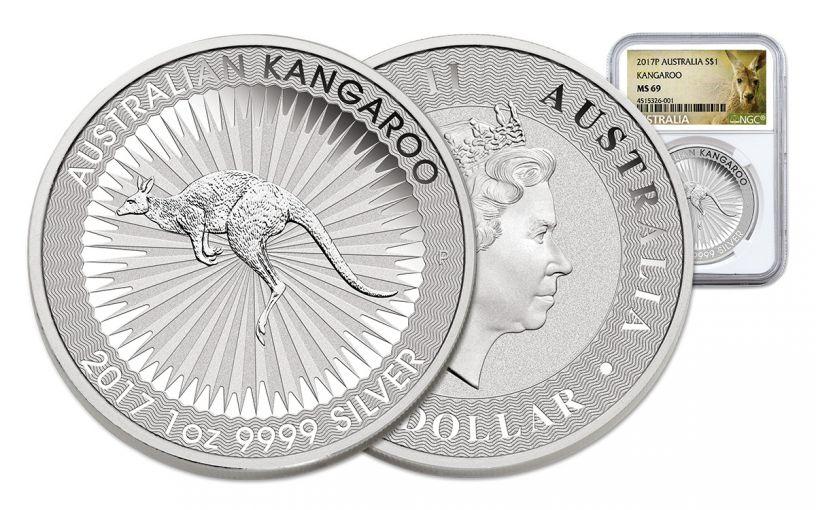2017 Australia 1 Dollar 1-oz Silver Kangaroo NGC MS69 Early Release