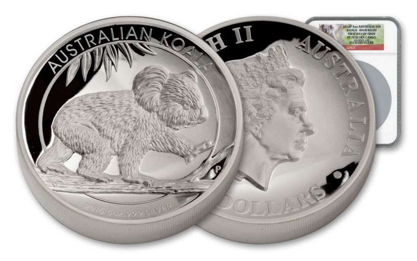 2016 Australia 5-oz Silver Koala High-Relief NGC PF70UCAM First Day Of Issue