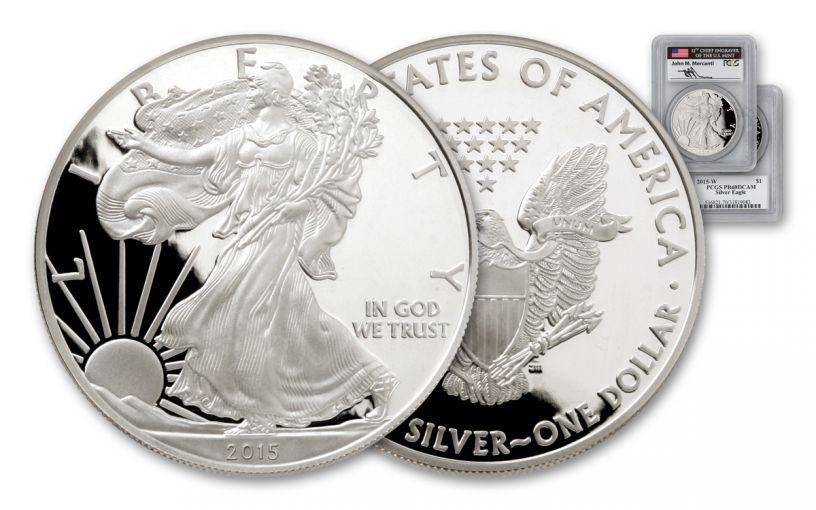 2015-W 1 Dollar 1-oz Silver Eagle PCGS PR69DCAM Mercanti Signed