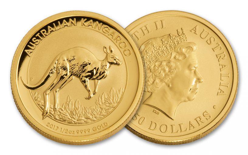 2017 Australia 50 Dollar 1/2-oz Gold Kangaroo BU