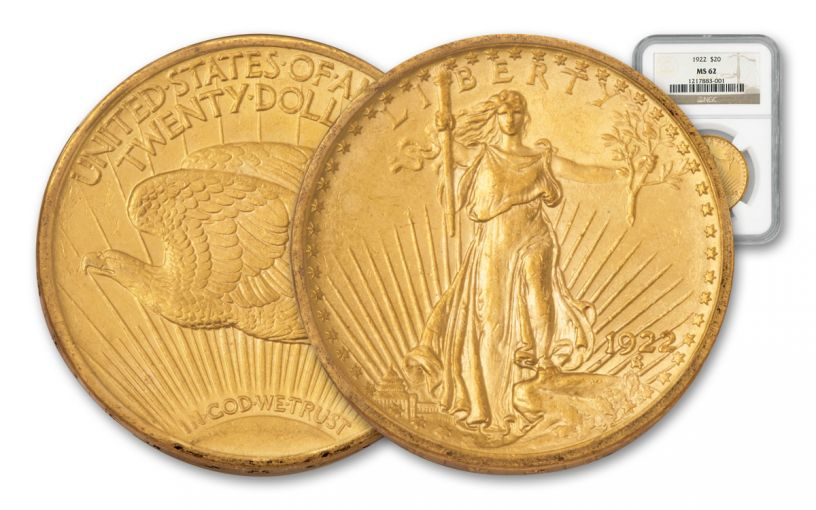 1908-1929 20 Dollar Gold Saint Gaudens NGC/PCGS MS62