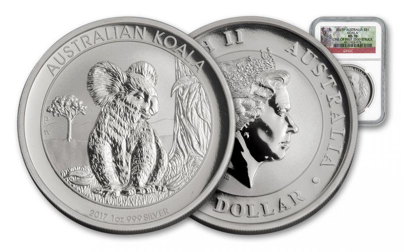 2017 Australia 1 Dollar 1-oz Silver Koala NGC MS70