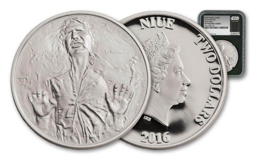 2016 Niue 2 Dollar 1-oz Silver Star Wars Classics Han Solo NGC PF70UCAM - Black