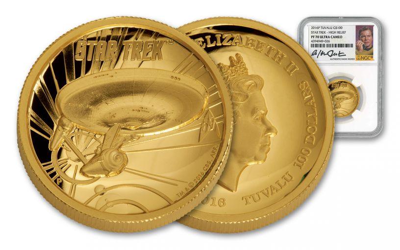 2016 Tuvalu 100 Dollar 1-oz Gold Star Trek High Relief NGC PF70UCAM Shatner Signed
