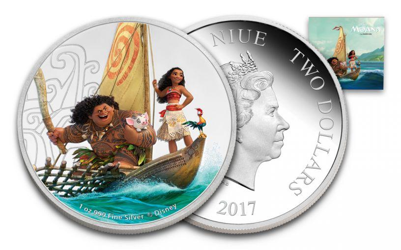 2017 Niue 2 Dollar 1-oz Silver Disney Moana Proof