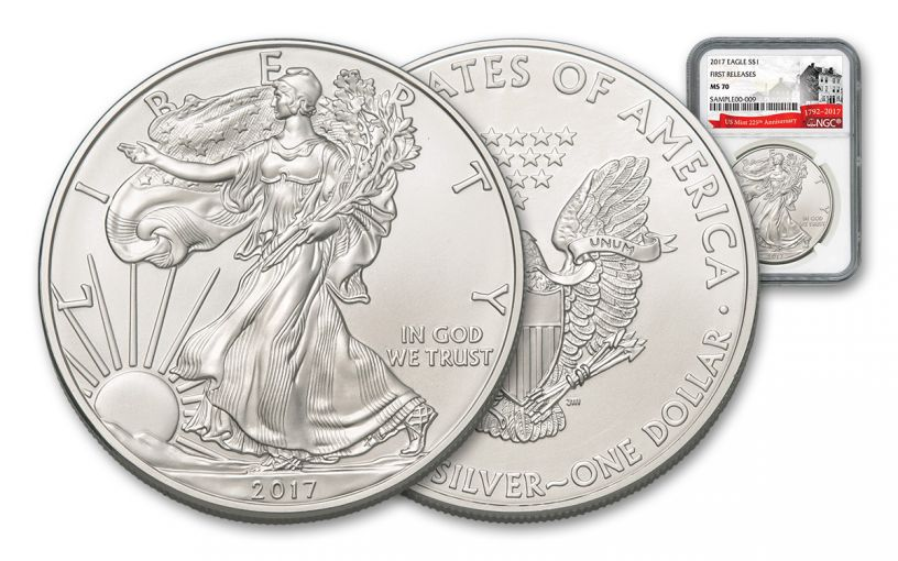 2017 1 Dollar 1-oz Silver Eagle NGC MS70 First Releases 225th Anniversary