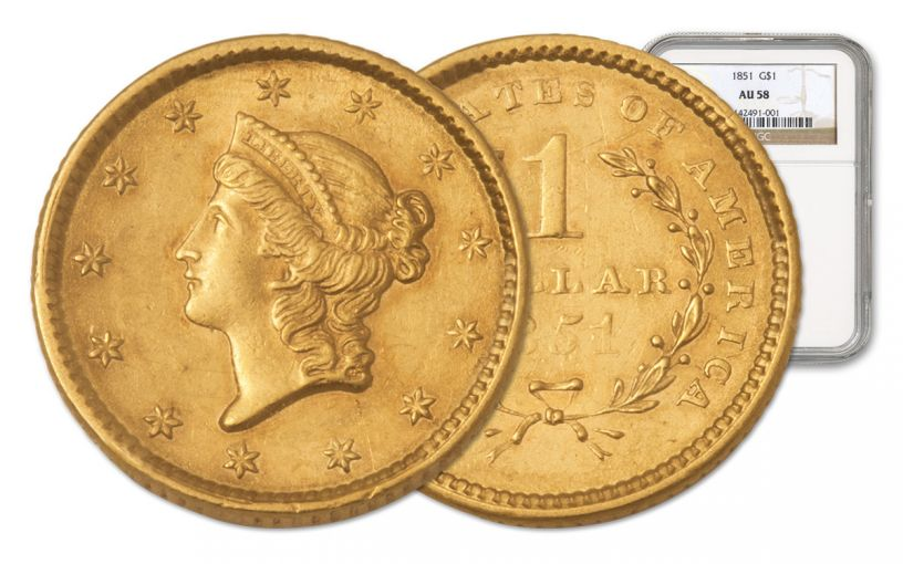 1849-1854 1 Dollar Gold Liberty Type 1 NGC/PCGS AU58