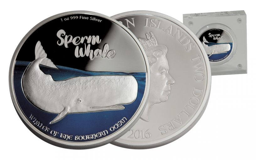 2017 Niue 2 Dollar 1-oz Silver Whales of the Southern Ocean - Sperm Proof