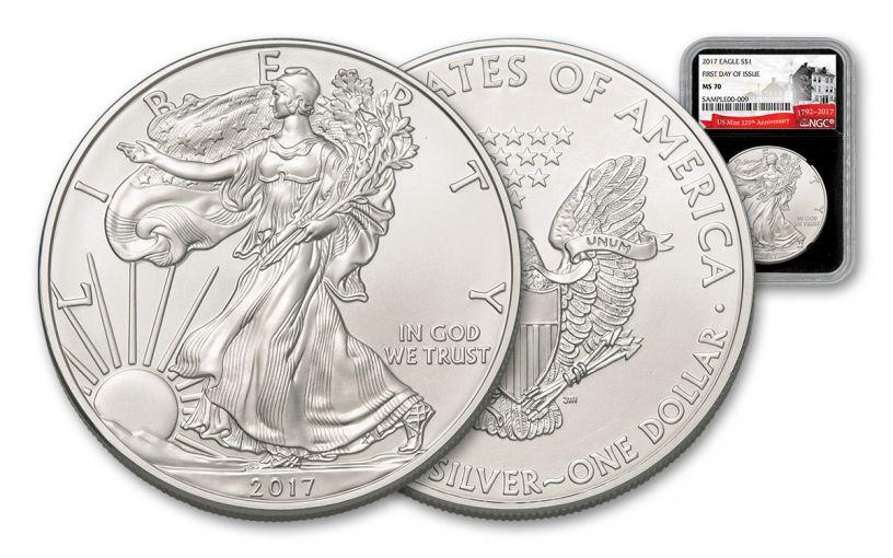 2017 1 Dollar 1-oz Silver Eagle NGC MS70 FDI 225th Anniversary - Black