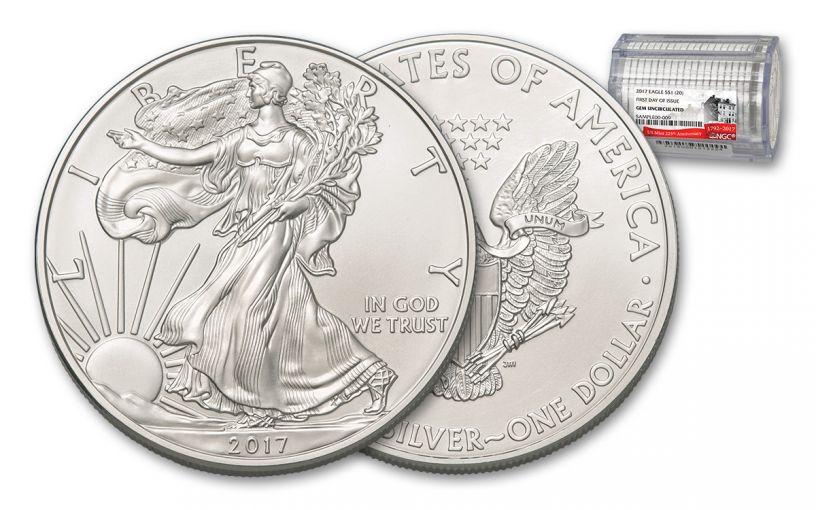 2017 1 Dollar 1-oz Silver Eagle NGC Gem Proof FDI 20-Coin Roll