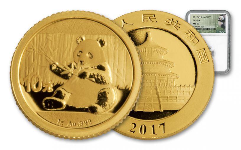 2017 China 1-Gram Gold Panda NGC MS69