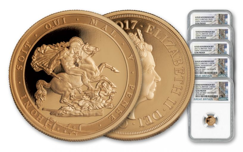 2017 Great Britain Gold Sovereign Set NGC Gem Proof First Struck 5pc
