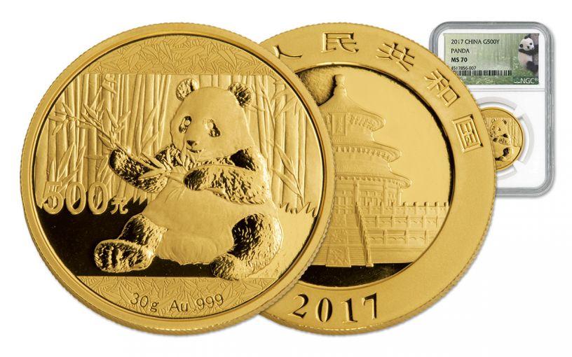 2017 China 30-Gram Gold Panda NGC MS70