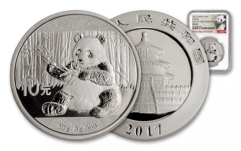 2017 China 30-Gram Silver Panda NGC MS69 FDI