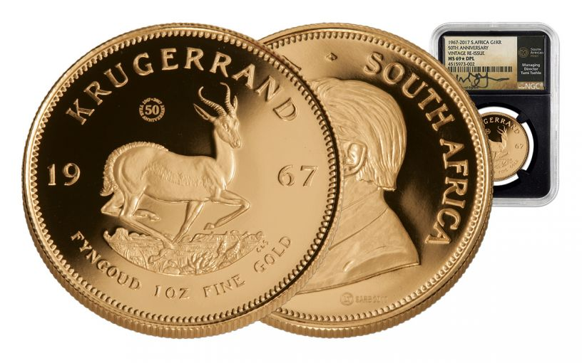 1967 South Africa 1-oz Gold Krugerrand NGC MS69 Deep Proof-Like 50th Anniversary