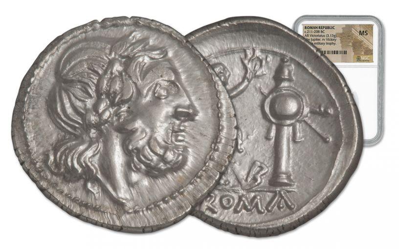 211-208 BC Roman Silver Victoriatus NGC MS