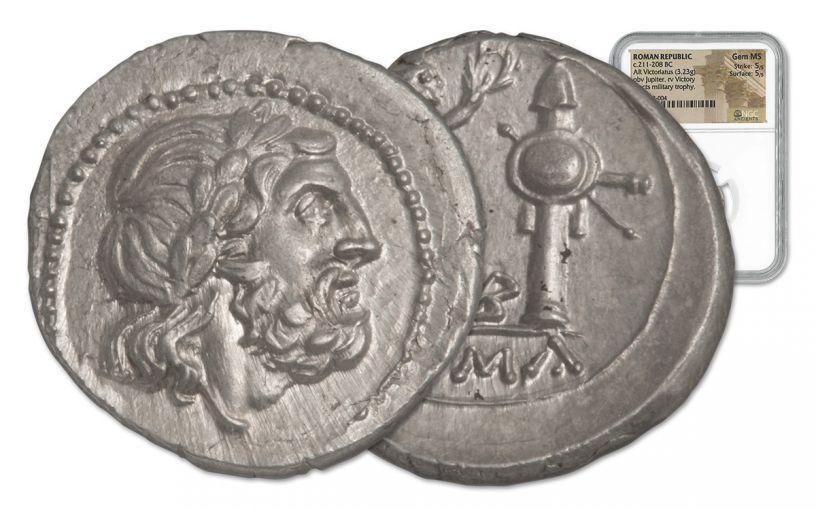 211-208 BC Roman Silver Victoriatus NGC Gem MS