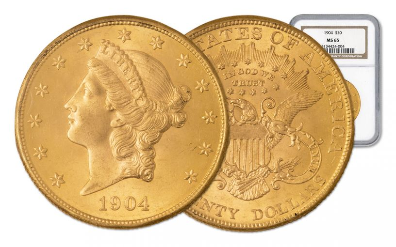 1877-1907 20 Dollar Gold Liberty with Motto Double Eagle NGC/PCGS MS65