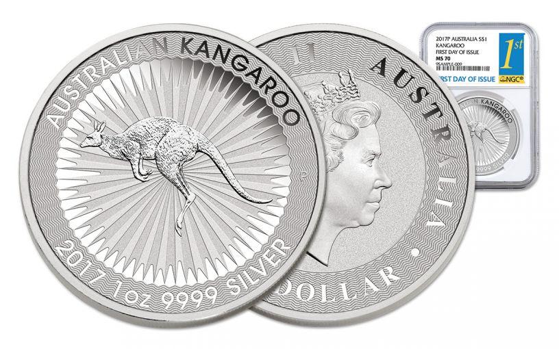2017 Australia 1 Dollar 1-oz Silver Kangaroo NGC MS70 FDI