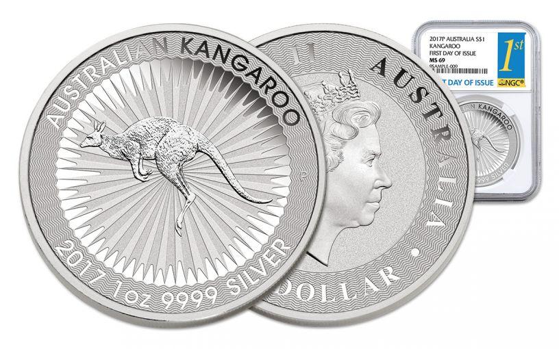 2017 Australia 1 Dollar 1-oz Silver Kangaroo NGC MS69 FDI
